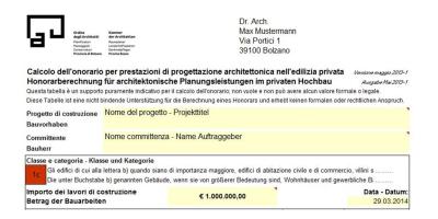 Edilizia privata ordine architetti ppc - Parcella architetto ...